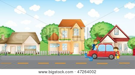 Illustration of a boy helping his father cleaning the car