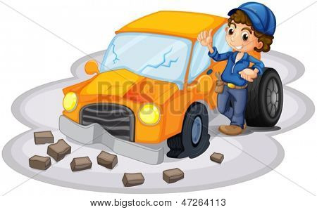 Illustration of a boy fixing a broken orange car on a white background