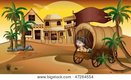 Illustration of a young girl inside a wagon