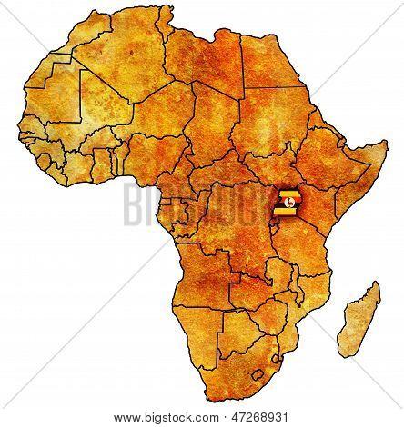 Uganda no mapa real da África