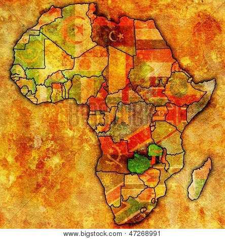 Zâmbia no mapa real da África