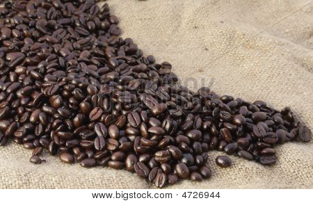 Coffee Beans Spread On Bag