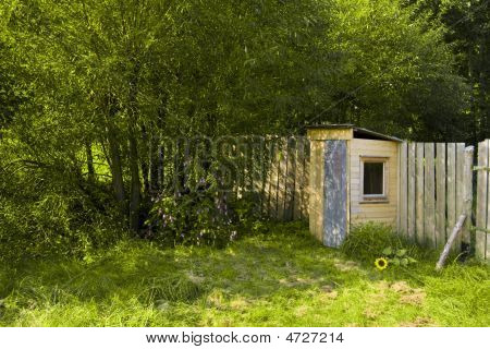 Idyllic Wooden Restroom