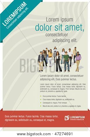 Red and blue template for advertising brochure with business people
