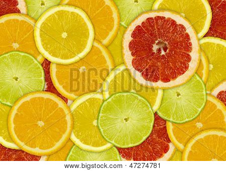 Abstract Background With Citrus-fruits Slices