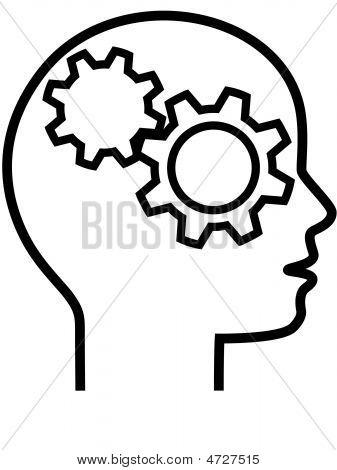 Profile Of Gear Head Brain Thinker Outline