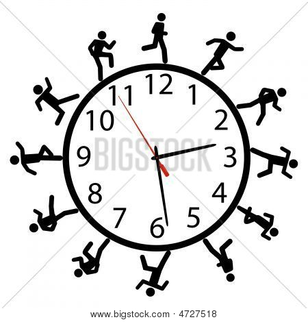 Symbol People Run A Race Around The Time Clock