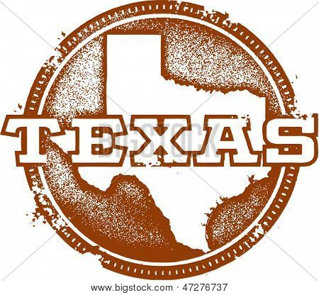 Vintage Distressed Texas USA State Stamp
