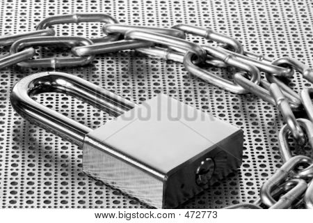 Lock & Chain On Steel