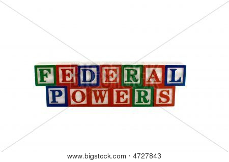 Vintage Alphabet Blocks Spelling Federal Powers