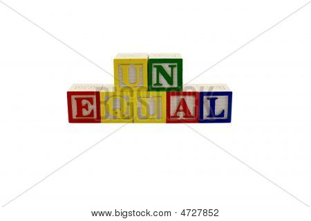 Vintage Alphabet Blocks Spelling Unequal