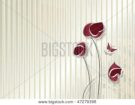 Vintage flower design - retro striped background