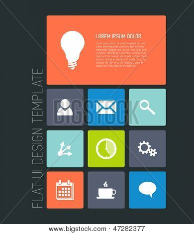 Modern smartphone flat user interface (UI) template