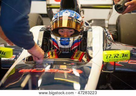 MOSCOW - JUNE 23: Nikolay Martsenko of Pons R Team (ESP) ready for start at World Series by Renault in Moscow Raceway on June 23, 2013 in Moscow