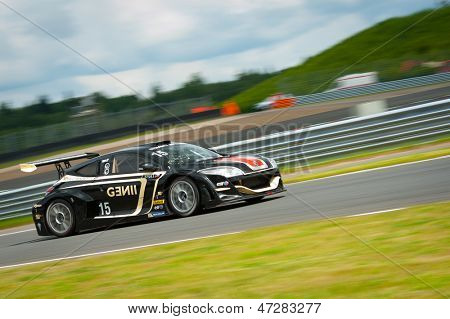 MOSCOW - JUNE 23: Jakub Knoll of Gravity Charouz team race at Megane Trophy V6 race at World Series by Renault in Moscow Raceway on June 23, 2013 in Moscow
