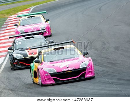 MOSCOW - JUNE 23: Megane Trophy V6 cars race at World Series by Renault in Moscow Raceway on June 23, 2013 in Moscow