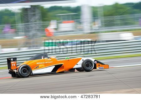 MOSCOW - JUNE 23: Jack Aitken of Manor MP Motosport team (NED) race at Formula Renault 2.0 race at World Series by Renault in Moscow Raceway on June 23, 2013 in Moscow