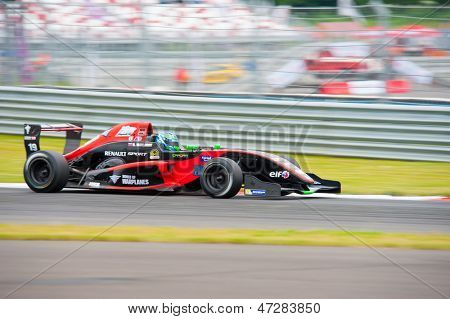 MOSCOW - JUNE 23: Roman Mavlanov of RC Formula team (LUX) race at Formula Renault 2.0 race at World Series by Renault in Moscow Raceway on June 23, 2013 in Moscow