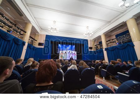 MOSCOW - OCT 27: Spectators await submission on Firebird Theatre in Sokolniki on October 27, 2012 in Moscow, Russia.