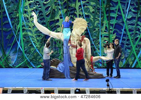 MOSCOW - SEP 19: Rehearsal of the musical The Little Mermaid in the theater Russia on September 19, 2012 in Moscow, Russia.