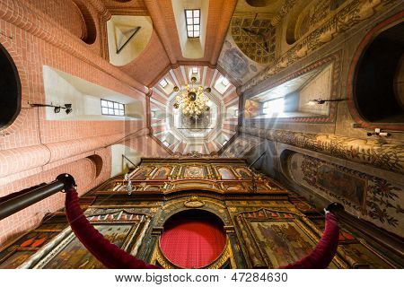 MOSCOW - SEP 17: Interior of St Basils Cathedral on Red Square on Sep 17, 2012 on Moscow, Russia. Cathedral was built in years 1555-1561 on orders of Ivan Terrible to commemorate the capture of Kazan.