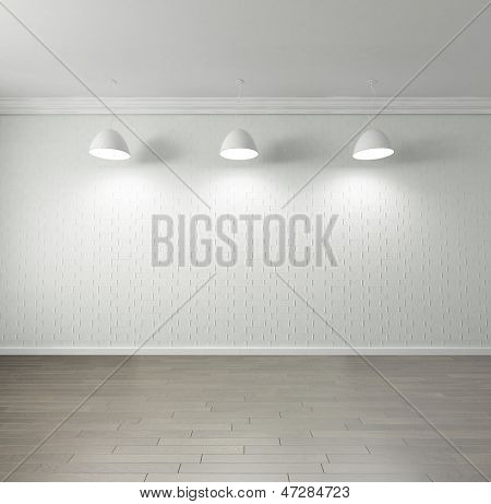 Rendering of an empty room with high quality parquet floor, blank brick wall, , hanging lights on the ceiling