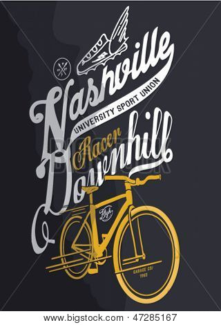 illustration sketch bicycle with type