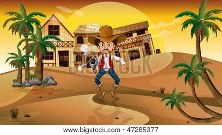 Illustration of a cowboy holding a gun with a cigarette