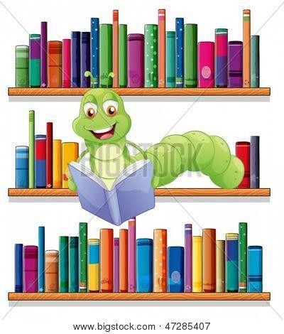 Ilustração de uma lagarta, lendo um livro sobre um fundo branco