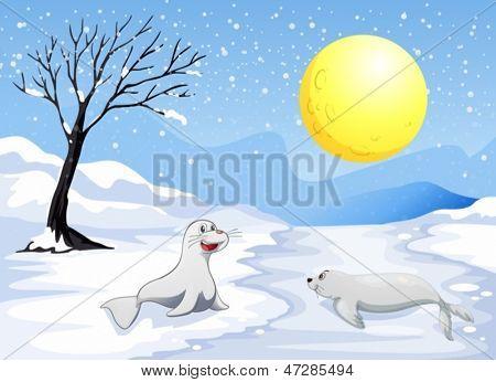 Ilustración de los leones de mar, jugando con la nieve bajo la luna llena
