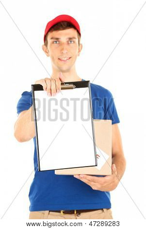 Young delivery man holding parcel and clipboard, isolated on white