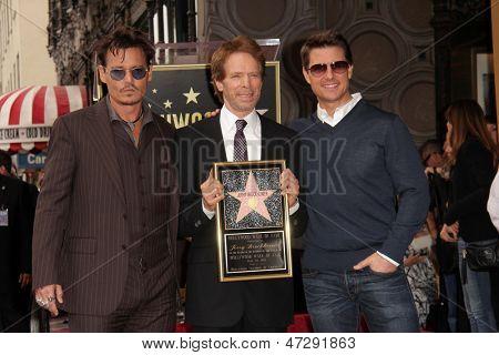 LOS ANGELES - 24 de JUN: Jerry Bruckheimer, Johnny Depp, Tom Cruise em Jerry Bruckheimer Star na