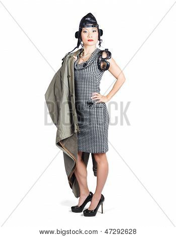 Isolated Asian Pin Up Lady. Air Force Style