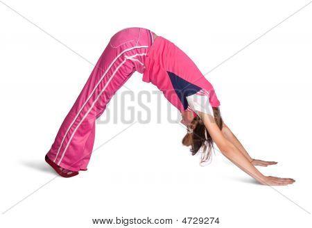 Girl Doing Aerobics Over White Background