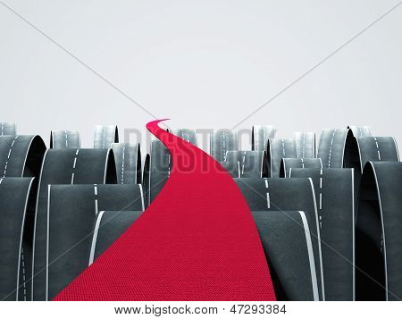 3d image of red carpet and different asphalt ways