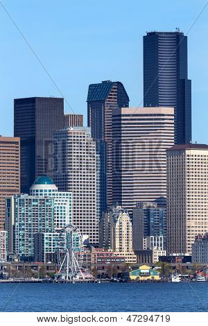 Seattle Towers Buildings Waterfront Cityscape Washington
