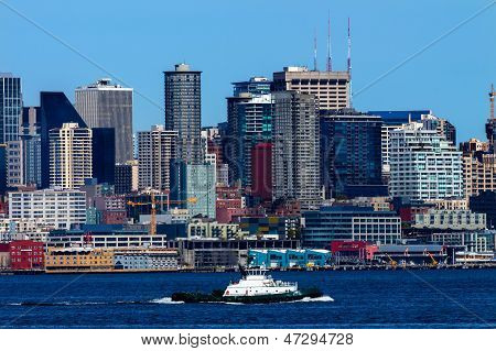 Seattle Skyline Tugboat Puget Sound Washington State