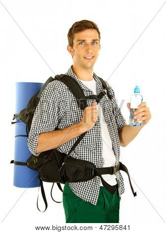 Young hiker man tourist holding bottle of water, isolated on white