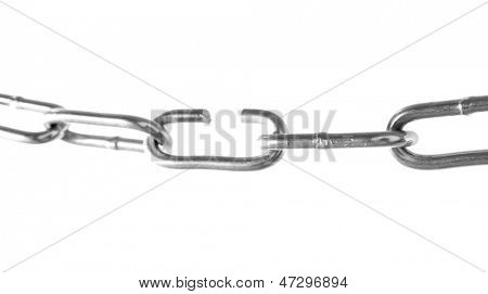 Broken chain isolated on white