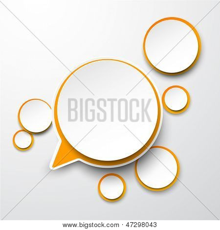 Vector illustration of white and orange paper round speech bubble. Eps10.