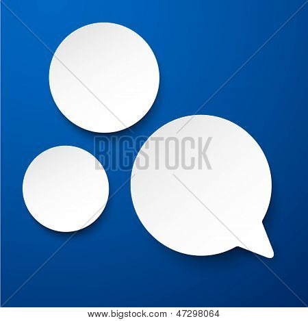 Vector illustration of white paper round speech bubble over blue. Eps10.