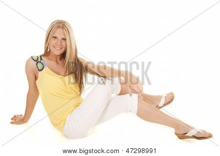 Woman Yellow And White Sitting Smile