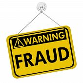 foto of hazard symbol  - A yellow and black sign with the word Fraud isolated on a white background Warning of Fraud - JPG