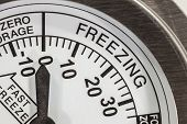image of refrigerator  - Freezing zone refrigerator thermometer macro detail - JPG