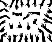 stock photo of middle finger  - Big collection of silhouettes of hands - JPG