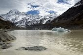 stock photo of hookers  - Mount Cook form Hooker Lake, in the Hooker Valley, Mount Cook National Park, New Zealand