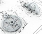 stock photo of mechanical engineering  - 3D render image with mechanical sketch and gears - JPG