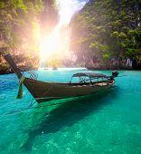 foto of nic  - Railay beach in Krabi Thailand with boat - JPG
