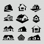stock photo of roofs  - Vector house silhouette icons - JPG