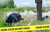 picture of corpses  - Crime scene with corpse and evidence outdoors - JPG